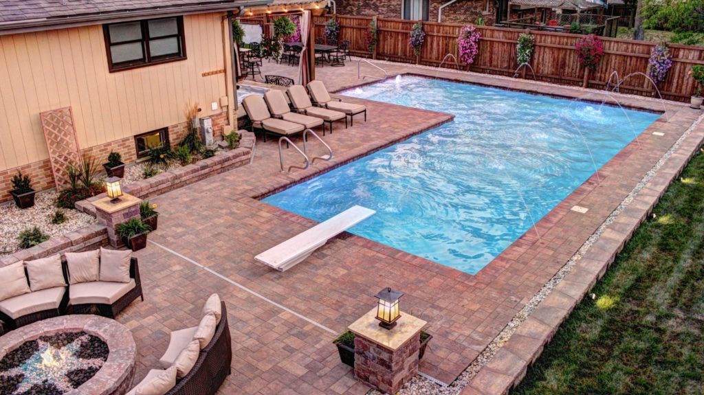 L-Shaped Shotcrete Pool designed by All Seasons Pools & Spas, Inc.