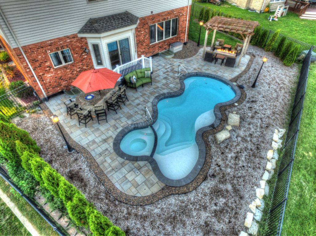 Fiberglass Pool with an attached Spa in Orland Park, IL