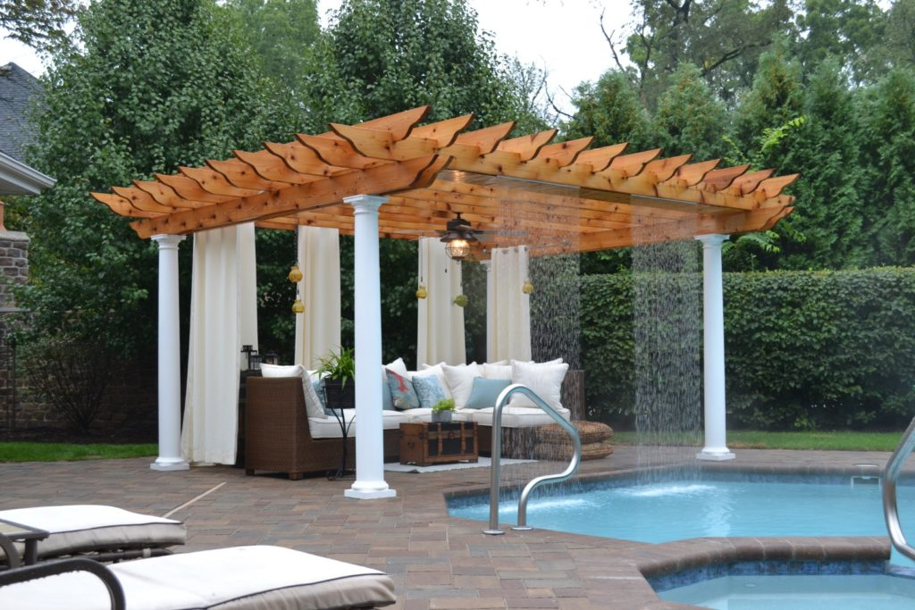 Pergola with Rainfall designed by All Seasons Pools & Spas, Inc.