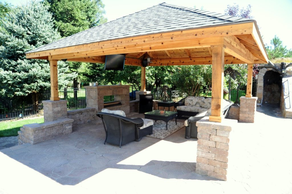 Pavilion with Fireplace designed by All Seasons Pools & Spas, Inc.
